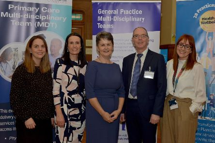 Pictured in the Guildhall, yesterday afternoon, at the launch of the WHSCT multi-disciplinary teams project are, from left, Rachel Forbes, manager, Derry Federation of Family Practices, Elaine Roberts, WHSCT, Dr Anne Kilgallen, Chief Executive, WFSCT, Dr Martin McCloskey, Chair, Derry GP Federation, and Bernie McCafferty, Project Manager, WHSCT. DER0320GS ' 015