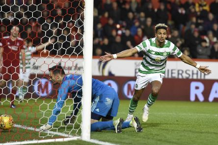 Celtic's Scott Sinclair celebrates scoring his side's third goal