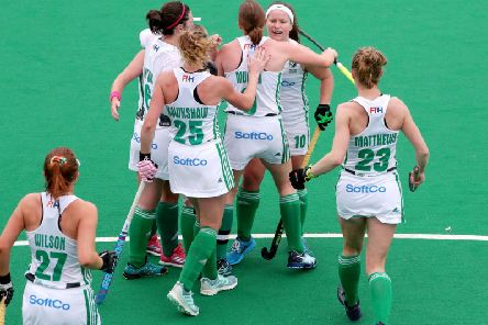 Ireland celebrate Shirley McCay's opening goal against Czech Republic