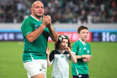 Ireland's Rory Best applauds the fans alongside his children children Ben (right) and Penny after the 2019 Rugby World Cup Quarter Final match at Tokyo Stadium. PA Photo.