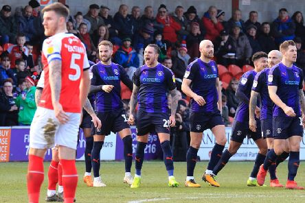 George Moncur celebrates his opening goal at Fleetwood