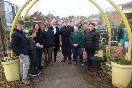 The High Sheriff of Bedfordshire, Julian Polhill, with the Incredible Edible volunteers.
