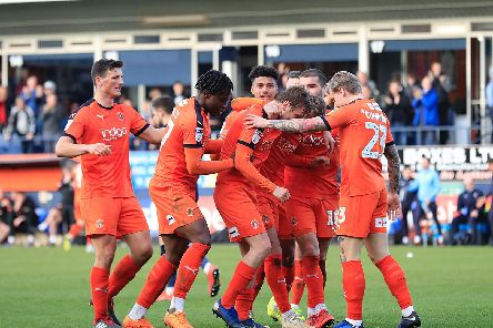 Town celebrate Luke Berry's goal against Doncaster Rovers