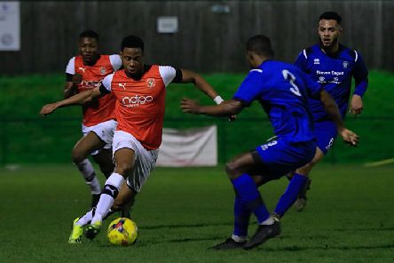 Action from the Hatters victory over AFC Dunstable in the second round