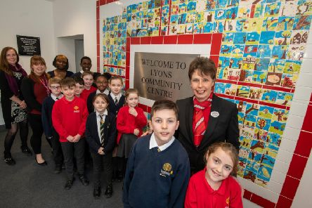 Pupils from Slip End School and Caddington Village School worked with Redrow Homes to create a mosaic display for the Lyons Community Centre