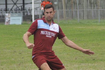 Little Common defender Lewis Parsons effected a goal-line clearance during the first half of the 2-0 defeat to Eastbourne United AFC