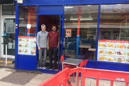 Manager Azram Rahman and owner Simon Thevthas at RFC takeaway, Eastbourne 04-04-19