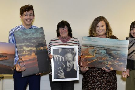 The Terry Connolly Young Photographer of the Year Award Winners with Terry's wife Thelma (Photo by Jon Rigby) SUS-190205-104956008