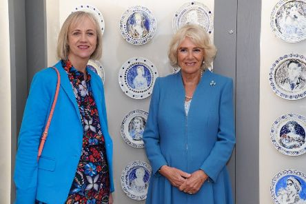 Writer Virginia Nicholson, granddaughter of painter Vanessa Bell who lived at Charleston, with the Duchess of Cornwall