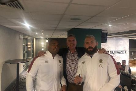 England star Marler (right) with former coach Stadler (middle)