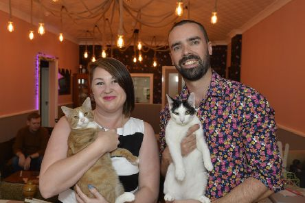 Mad Catter Cafe opens - delighted owners Lucy Allen and Sam Firman (Photo by Jon Rigby)