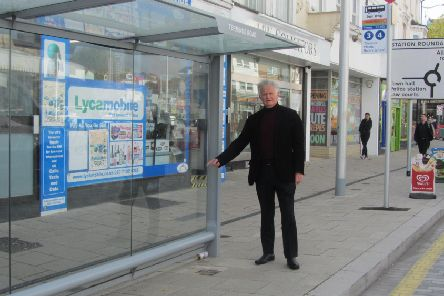 Councillor Robert Smart by the Terminus Road bus stop