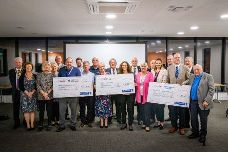 Eastbourne Blind Society, Parkinson's UK (Hailsham) and The Chaseley Trust receive donation cheques from Airbourne Project Board SUS-191017-091215001