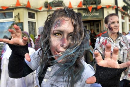 Zombie Walk through Eastbourne Town Centre 27/10/18 (Photo by Jon Rigby) SUS-181029-112119008