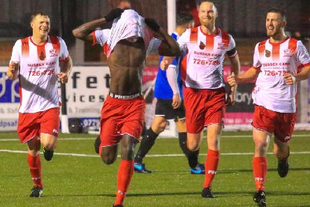 Santana Mendy celebrating his goal against East Preston on Saturday. Photo by Andy Pelling