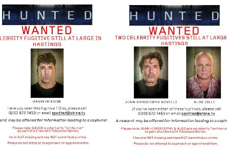 Posters circulated on social media in a bid to catch the celebrity fugitives. Photos courtesy of Twitter/Hunted HQ.