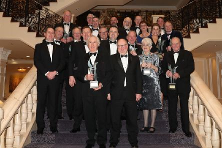 "ITBA National Breeding and Racing Awards, The Heritage Hotel, Killenard, Co.Laois. Sat 26 January 2019'Hall Of Fame inductee David Nagle and ITBA Chairman Christy Grassick in front row.'Second row: Michael, PJ, Gerry and Monica Aherne, Kevin Prendergast.'3rd row: Brian, Liam and Garrett O�""Rourke, Aidan Aherne.'Behind: Paddy Behan, Ray Hyland, Senator Ian Marshall, Douglas Taylor, Vimal Khosla, Damian Burns, Gillian Khosla, Kate Harrington, Anthony Callan and Gerry O�""Brien.'Photo.carolinenorris.ie"