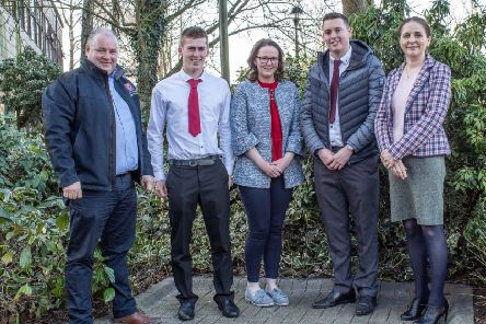 Greenmount Campus Farm Business student award winners with: (left to right) First Trust Bank Judge Eoin Donnelly, (Agriculture Business Manager); Christopher Ruddock (Donaghcloney) runner-up; Andrea Rooney (Tassagh) winner; third placed Jamie Adair (Banbridge); and Dr Kate Semple, Course Manager