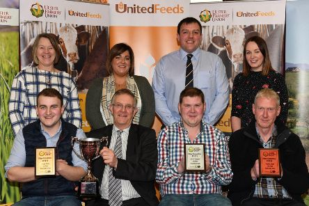 Round Bale N.I. winners: 'Back row (l-r): Joyce McConnell, Ballyclare Group; Lynsey Crawford, Alan Boyd United Feeds; and Lesley Graham, North Tyrone Group. 'Front row (l-r): James Robson (1st place), Ivor Ferguson, UFU President;  Jonathan Crawford (2nd place) and Stephen Smyth (3rd place).