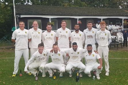 The Kibworth players celebrate their Leicestershire & Rutland League Premier Division title win. Picture taken from Twitter