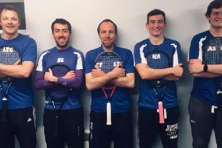 Lutterworth Tennis Clubs first-team, from left, Will Potterton, Sam Lowden, Charles Turney, Harry Amos and Alex Simpson.