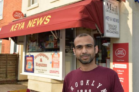Chirag Patel, 42, launched the crucial new post office service at his bustling Keya News corner shop in Logan Street. PICTURE: ANDREW CARPENTER