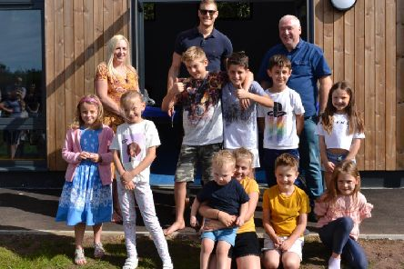 Kerry Willars (Deputy head of school), Tom Hopper and Ralph Wood (Head of School), with children from the school James Saunders, Sam Glastonburry, George Crisp, Dottie McNally, Martha Williams, Niamh Shearn, Ronnie McNally, Evie Atkinson, Monty Birrell, Nancy Crisp. PICTURE: KATIE HAYNES