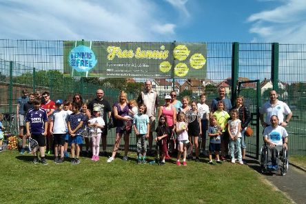 Some of the local residents who enjoyed the Tennis For Free event, 2018 SUS-190319-100433001