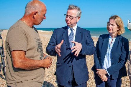 Michael Gove and Amber Rudd meet with the Hastings fishing community to discuss quotas, '13 July 2018 SUS-190328-120815001