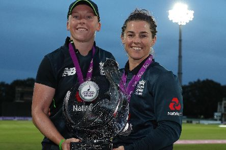 England captain Heather Knight (left) and Tammy Beaumont were among the players to surprise the young Hastings player. Picture by Getty Images