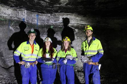Investigating the gypsum in British Gypsum's Brightling Mine. Pictured left to right are Ross Dickinson from Brightling Mine, Rebeca Barcenilla, PhD student working with Louisa Preston, Dr Louisa Preston from the Natural History Museum, and Dave Griffiths, British Gypsum geologist. SUS-191112-114538001