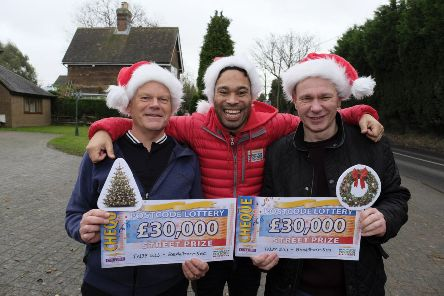 AndrewCastle and Martin Worrell with Peoples Postcode Lottery ambassador Danyl Johnson