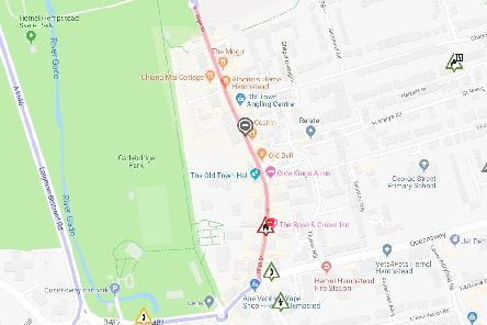 Hemel High Street road shown in red will be closed from Sunday