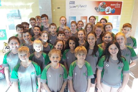 Berkhamsted Swimming Club's youngsters before the Peanuts League meet at Hemel at the weekend.