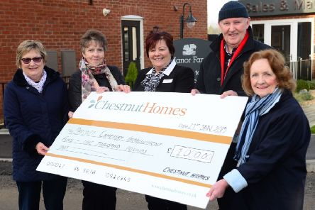 From left Angela Marshall, Wendy Knowles, Jonathan Sankey and Margaret Sankey of Bardney Cemetery Improvement Fund with Barbara Knotts (centre) of Chestnut Homes.