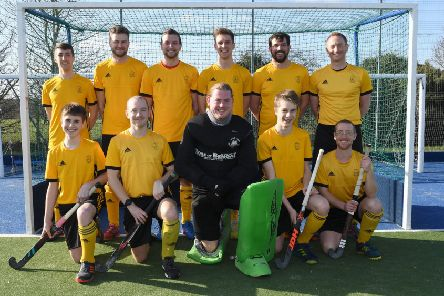 Horncastle Hockey Club, mens team. Front L-R Max Cullen, Chris Partridge, Jack Ashton, Jack Cullen, Rob Scott. Back L-R Luke Castleden, Matthew Branowsky, Jack Read, James Harris, Antonio Garcia Barker, Mick Bennett.