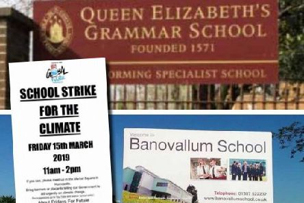 The strike poster (inset) alongside images of the town's two secondary schools.