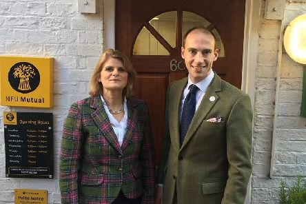 Jayne Thornalley and Andrew Wilson outside the NFU Mutual branch in Horncastle
