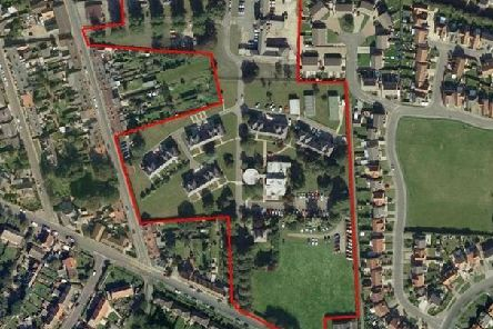 The site of the former college  (shown in red) although it not clear how much land will be involved in the new plans. Mareham Road is bottom left of the image