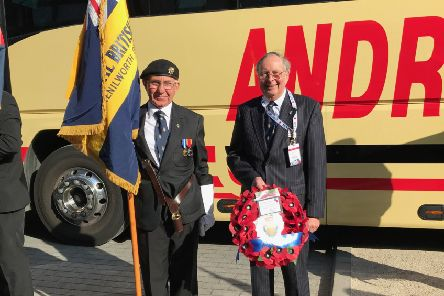 Dave Tovey (left) and Cllr George Illingworth with the Kenilworth RBL's standard and wreath