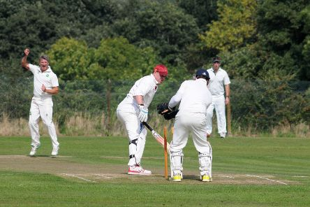 Leek Wootton's Dave Allison is bowled by David McInnes. Pictures: Morris Troughton