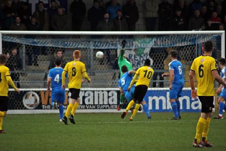Ahmed Obeng fires home Leamingtons equaliser. Picture by Sally Ellis