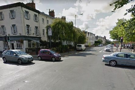 The crossroads at the A445 Rugby Road near The Fat Pug pub in Leamington. Photo by Google Street View.