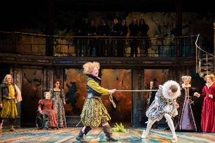 Claire Price and Joseph Arkley as Petruchia and Katherine with company. Picture: Ikin Yum