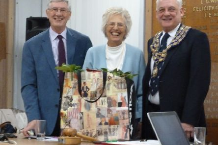 Tony Jones, Sheila Skinner and Cllr Michael Hitchins after the presentation of a rhododendron plant to Sheila.