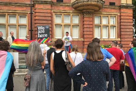 Daniel Brown of Warwickshire Pride talks at the demonstration.