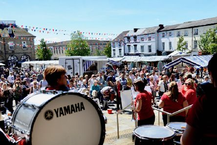 The Warwick Corp of Drums performed in Market Place in Warwick last weekend as part of their 40th anniversary celebrations. Photo by Gill Fletcher.