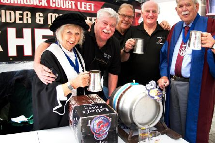 Members of the Warwick Court Leet Beer Festival Committee; Low Bailiff - Gail Warrington, Assistant Ale Taster - Keith Hinton, Jurors - Roy Glassborow and Alan Lettis (Festival Organiser) along with the Courts Ale Taster - Graham Sutherland. Photo by Gill Fletcher.