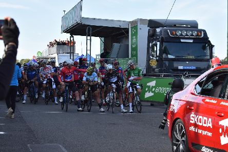 The cyclists start the Warwickshire leg of the OVO Energy Tour of Britain (men's cycling event) at Warwick Racecourse.