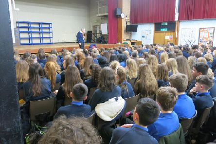 Retired doctor Martin Stern MBE speaks students from Kenilworth School